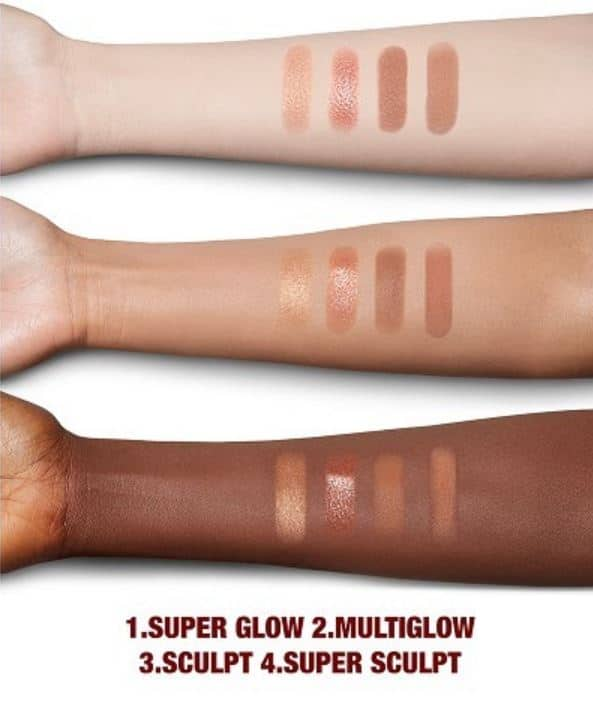 Swatches of the Nudegasm Face Palette by Charlotte Tilbury